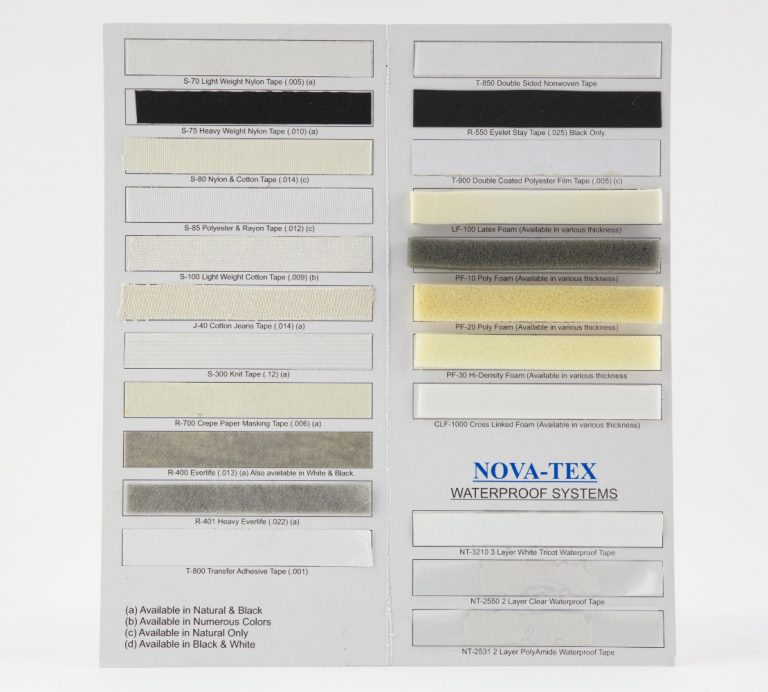 nova text tape samples choice adhesives